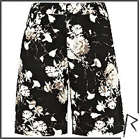Black floral Rihanna boy shorts