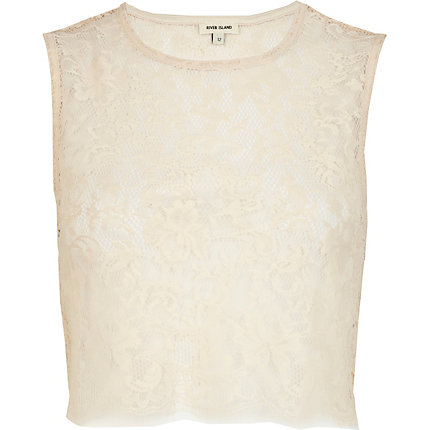 Cream lace sleeveless crop top