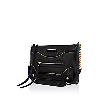 Black stud base zip panel messenger bag