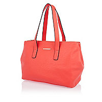 Pink double gusset tote bag