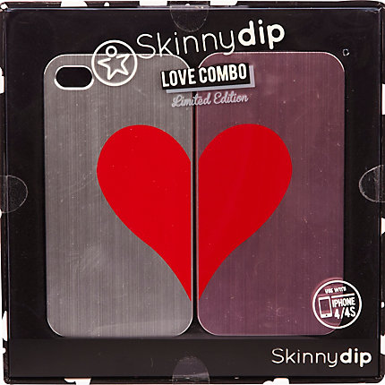 Red Skinnydip heart combo iPhone 4/4S cases