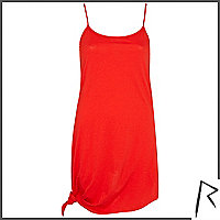 Red Rihanna longline knotted cami top