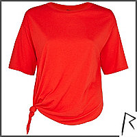 Red Rihanna knot front cropped t-shirt