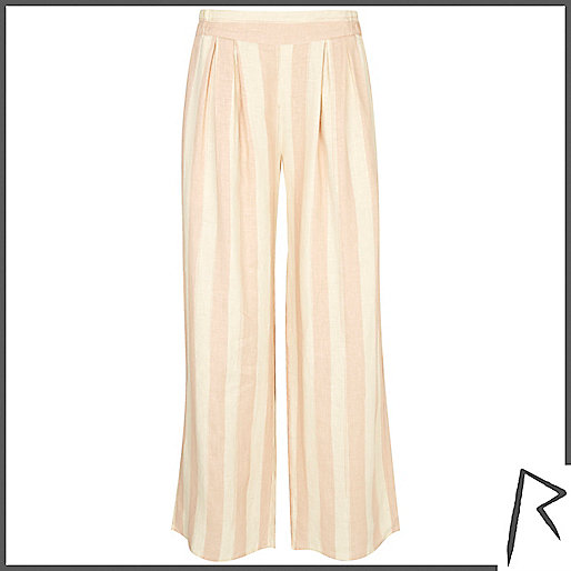 Pink stripe Rihanna wide leg pants