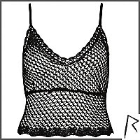 Black Rihanna crochet cami top