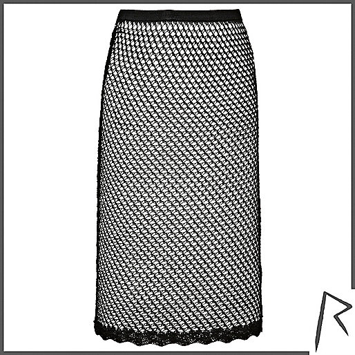 Black Rihanna crochet midi skirt