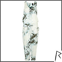 Green tie dye Rihanna sleeveless jumpsuit