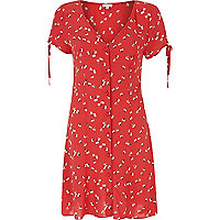 Red ditsy print button through dress