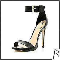 Black Rihanna barely there stiletto sandals