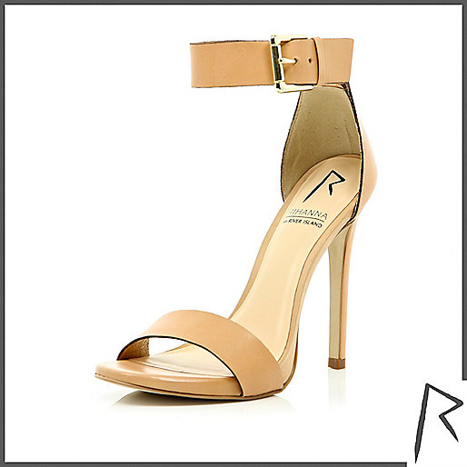 Beige Rihanna barely there stiletto sandals