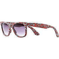 Red paisley print retro sunglasses