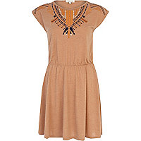 Beige marl tribal embroidered dress
