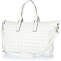 White stud holdall bag