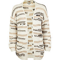 Beige textured stripe sequin cardigan