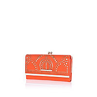 Orange laser cut clip top purse