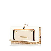 Cream contrast panel clip top purse