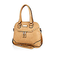 Beige studded kettle bag