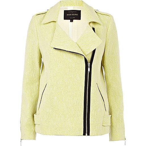 Lime tweed oversized biker jacket