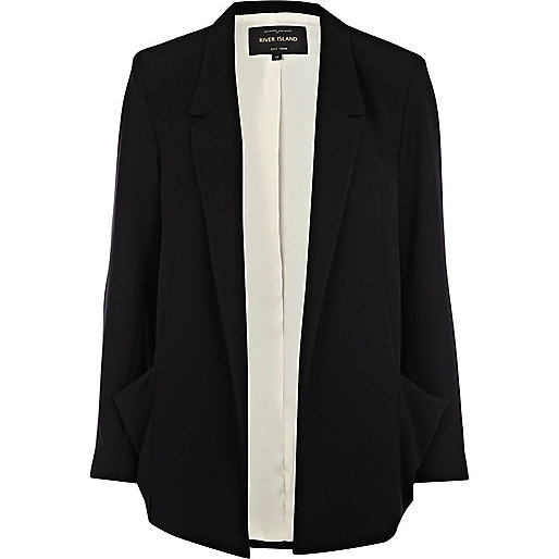 Black draped pocket boxy blazer