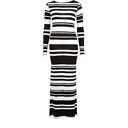 Black and white stripe cross back maxi dress