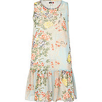 Blue Chelsea Girl floral drop waist dress