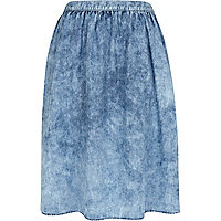 Blue acid wash denim midi skirt