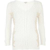 Cream lace insert V neck jumper