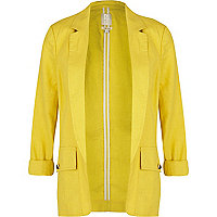 Yellow linen unlined blazer