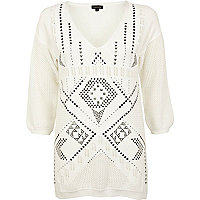 Cream aztec stud jumper dress