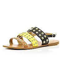 Black colour block strap studded sandals