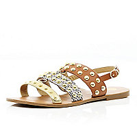Brown colour block strap studded sandals