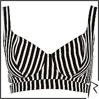 Black and white Rihanna striped bra top