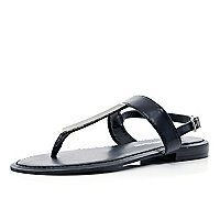 Black metal T bar sandals