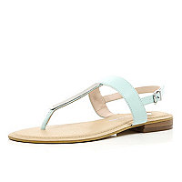 Green metal T bar sandals
