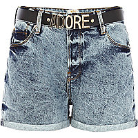 Light wash adore belted denim shorts