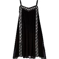 Black embroidered swing cami dress