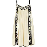Cream embroidered swing cami dress