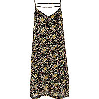 Black floral print strap cami dress