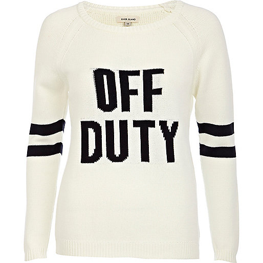 Cream off-duty print jumper
