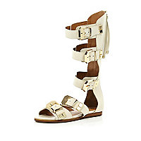 White chunky buckle high leg sandals