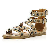 Beige studded eyelet gladiator sandals
