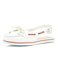 White sling back boat shoes