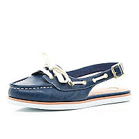 Navy sling back boat shoes