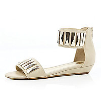 White metal plate embellished sandals