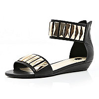 Black metal plate embellished sandals