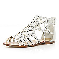 White diamante embellished caged sandals
