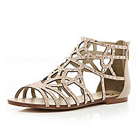 Pink diamante embellished caged sandals