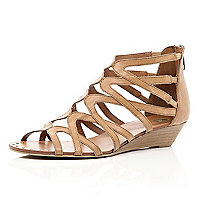 Light brown low wedge gladiator sandals