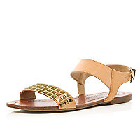 Brown studded panel sandals