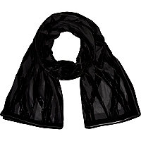 Black devore pattern long scarf